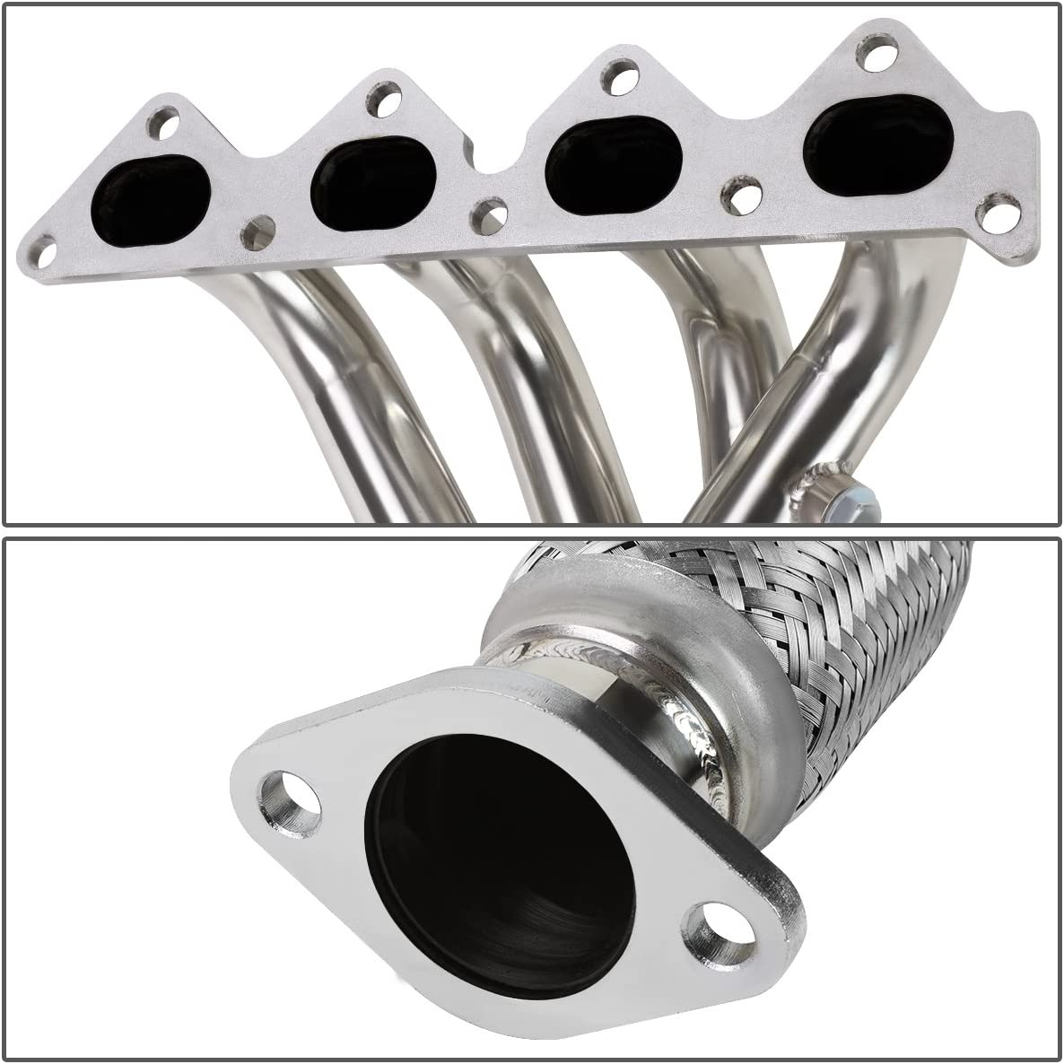 DNA MOTORING HDS-HT02L4 Stainless Steel Exhaust Header Manifold