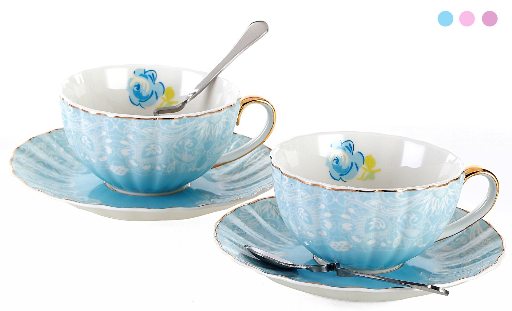 Jusalpha Porcelain Tea Cup and Saucer Coffee Cup Set with Saucer and Spoon FD-TCS04 (Set of 2, Blue)
