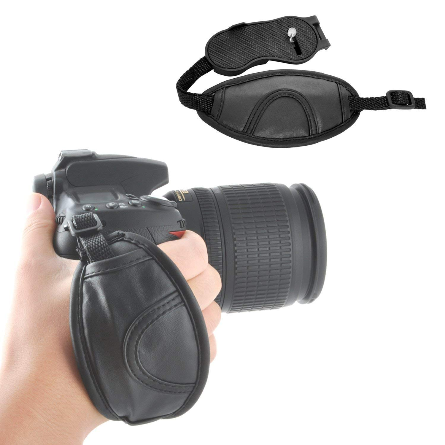 """Universal 1//4/"""" Mounting Screw Leather Padded Wrist Strap Hand Grip DSLR Cameras"""