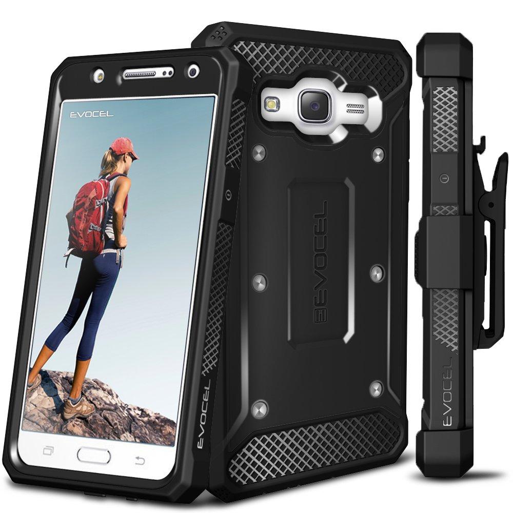 Galaxy J7 (2015) Case, Evocel [Explorer Series] Premium Hybrid Protector [Dual Layer][Belt Swivel Clip] For Samsung Galaxy J7 (SM-J700), Black (EVO-SAMJ7-ZZ01)