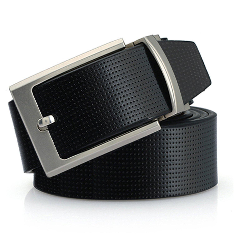 Genuine Leather Pin Buckle Belts Male Strap Silvery Reversible Buckle Belt