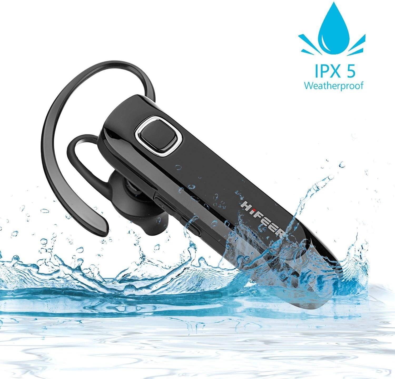 Auricular Bluetooth, HIFEER Manos Libres Bluetooth Auriculares Inalámbricos Impermeable IPX5 Bluetooth 4.1 Audífonos Micrófono Cancelación de Ruido Para iPhone Android
