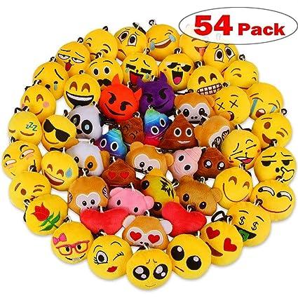 54 Piezas Mini Emoji Felpa Llavero Emoji Fiesta de cumpleaños, decoración, decoración de la Pared y Favor de Fiesta (54pcs)