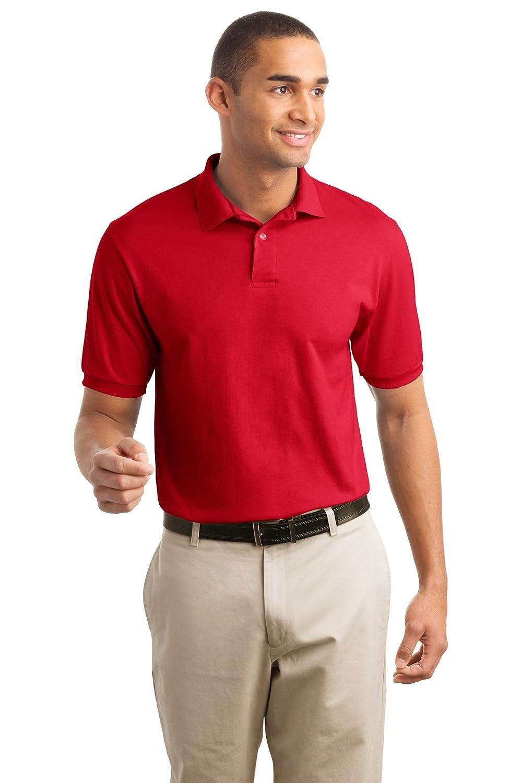 Hanes Cotton-Blend Men`s Jersey Polo Deep Red