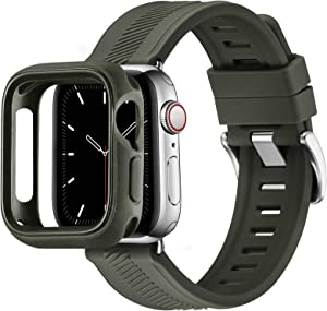 BesBand Compatible with Apple Watch Bands 44mm 42mm 40mm 38mm, Soft Silicone Waterproof Sport Band Loop with Protective Case for iWatch Series 6/5/4/3/2/1&SE (Army Green/Silver, 42mm/44mm)