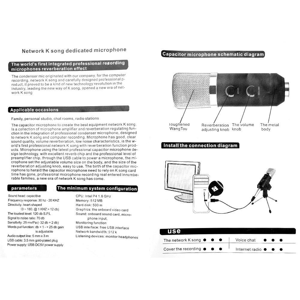 Usb Kondensator Mikrofon Mit Stnder Stativ Fr Pc Und Telefon Microphone Circuit Diagram Recording Podcasting Online Chatten Musikinstrumente