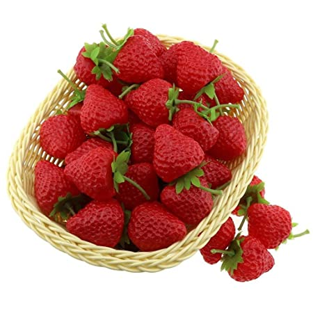 gresorth 30 pcs artificial red strawberry fake plastic strawberries fruits christmas decoration - Strawberry Kitchen Decoration