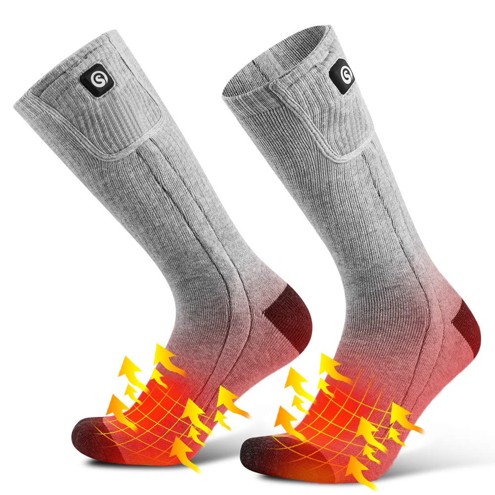 Savior Electric Rechargeable Battery Heated Socks Men Women Cold Weather Heated Socks Sport Outdoor Indoor Camping Hiking Hunting Thermal Heating Foot Warmer by SAVIOR HEAT