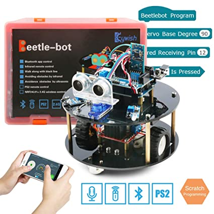 Keywish Robot for Arduino UNO Project Smart Car Kit with Tutorial,UNO R3  Board, Line Tracking Module, Ultrasonic Sensor,Bluetooth Module,Great