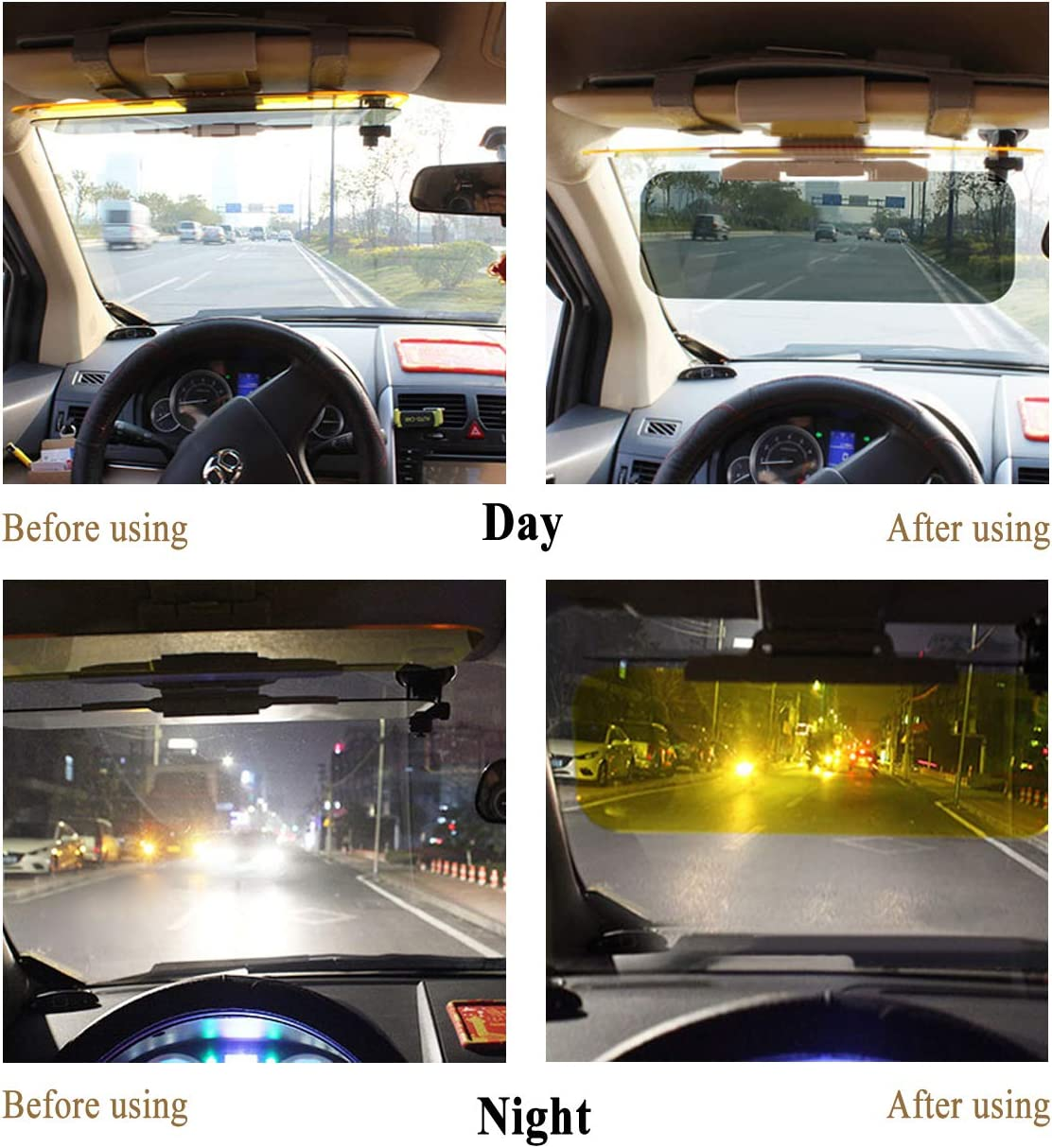 ACBungji Car Sun Visor Extender,2 in 1 Anti Glare Sun Blocker Protection for Car Windshield-2 Pack Large for Truck SUV