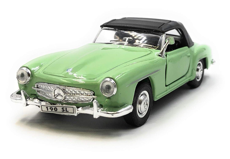 34-39 Onlineworld2013 Modelo de autom/óvil Mercedes Benz 190 SL Oldtimer Green Convertible Car Escala 1 con Licencia