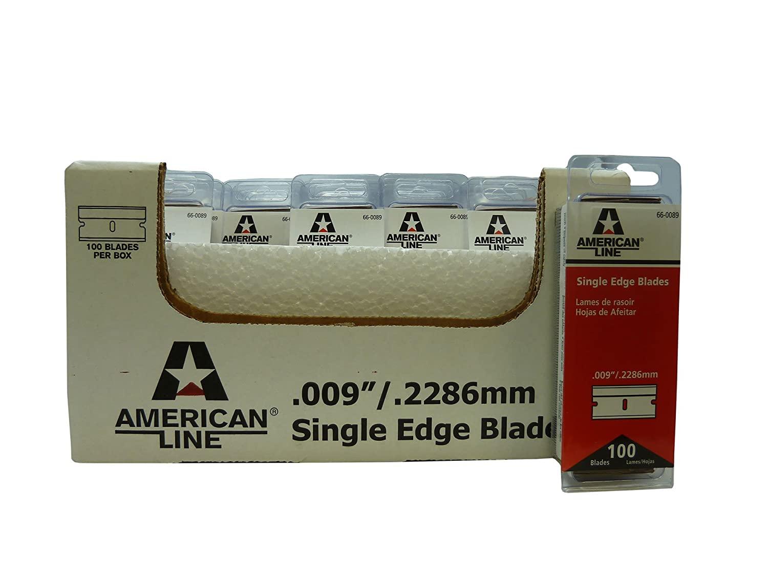 Image of American Line 66-0089CS Single Edge Blades, Aluminum Back, 0.009' Carbon, Duro Edge (Pack of 2500) Knife Blades