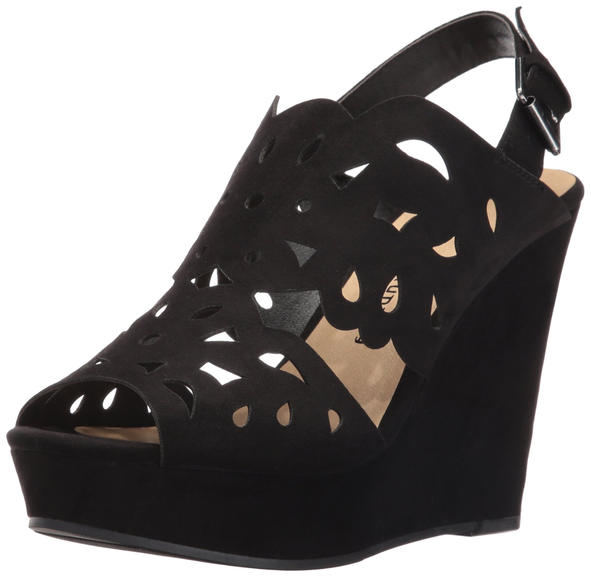 Chinese Laundry Women's in Love Wedge Sandal, Black Suede, 7.5 M US