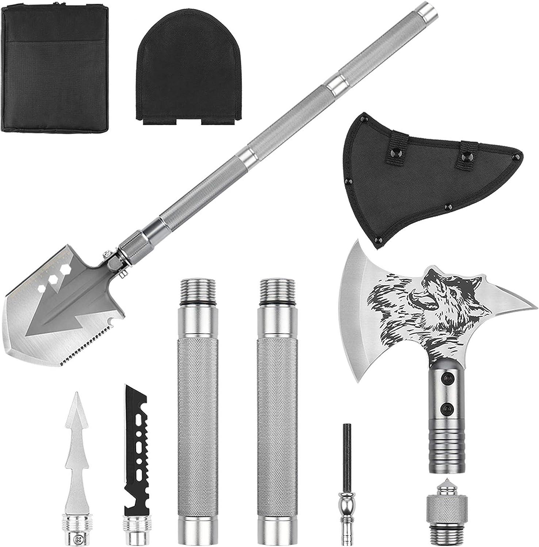 Adjustable Multi-functional Folding Shovel steel And Axe Field Survival Tool