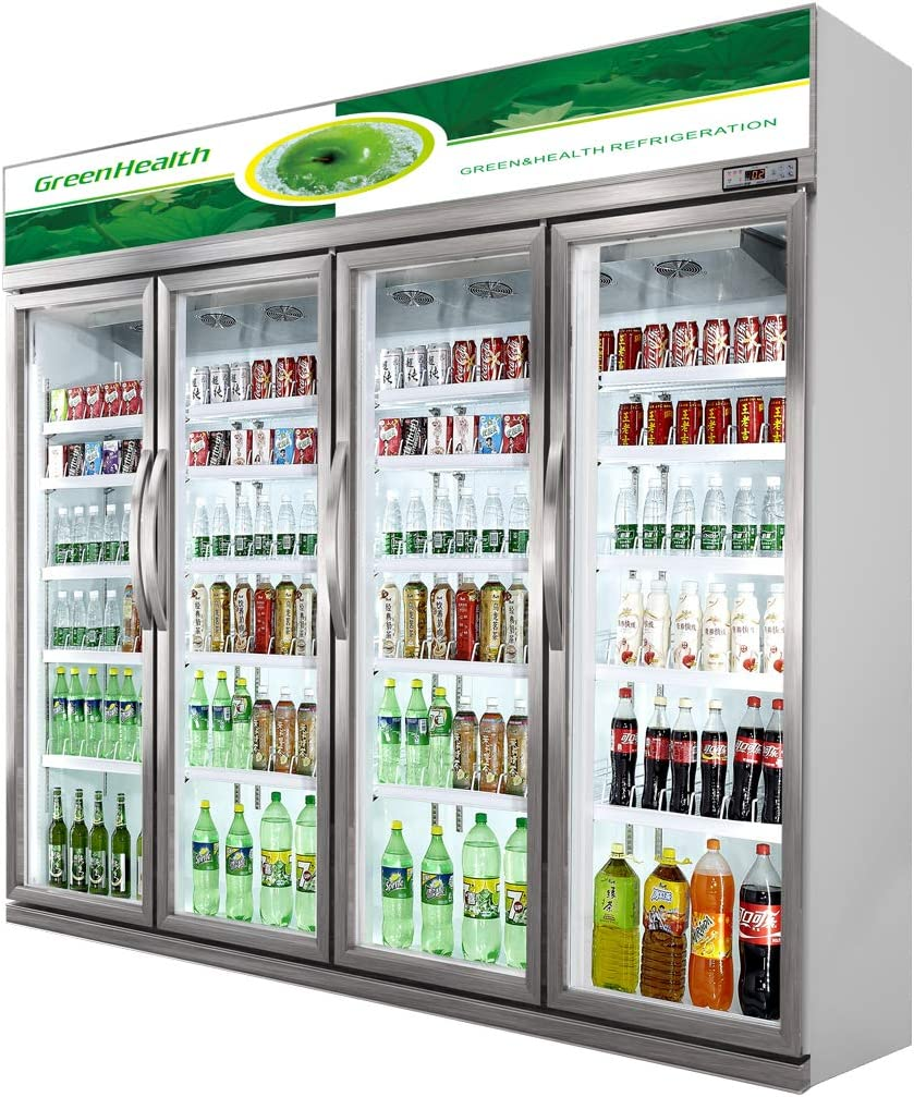 Commercial Glass 4 Door Display Refrigerator Merchandiser Upright Beverage Cooler (Silver)