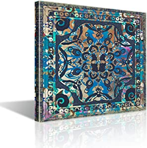 Boho Wall Art for Bedroom Mandala Theme Wall Decor Vintage Abstract Canvas Prints Framed Wall Decoration for Bathroom Modern Pictures Artwork Easy to Hang for Home Kitchen Bedroom Decor Size 14x14