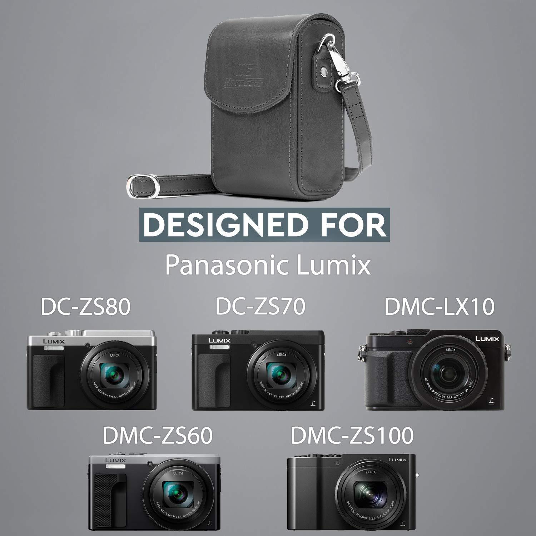 DMC-TZ100 Grigio MegaGear MG1213 Custodia in Ecopelle per Fotocamera con Tracolla compatibilie con Panasonic Lumix DC-TZ95 DMC-TZ80 DC-TZ90 DMC-LX15