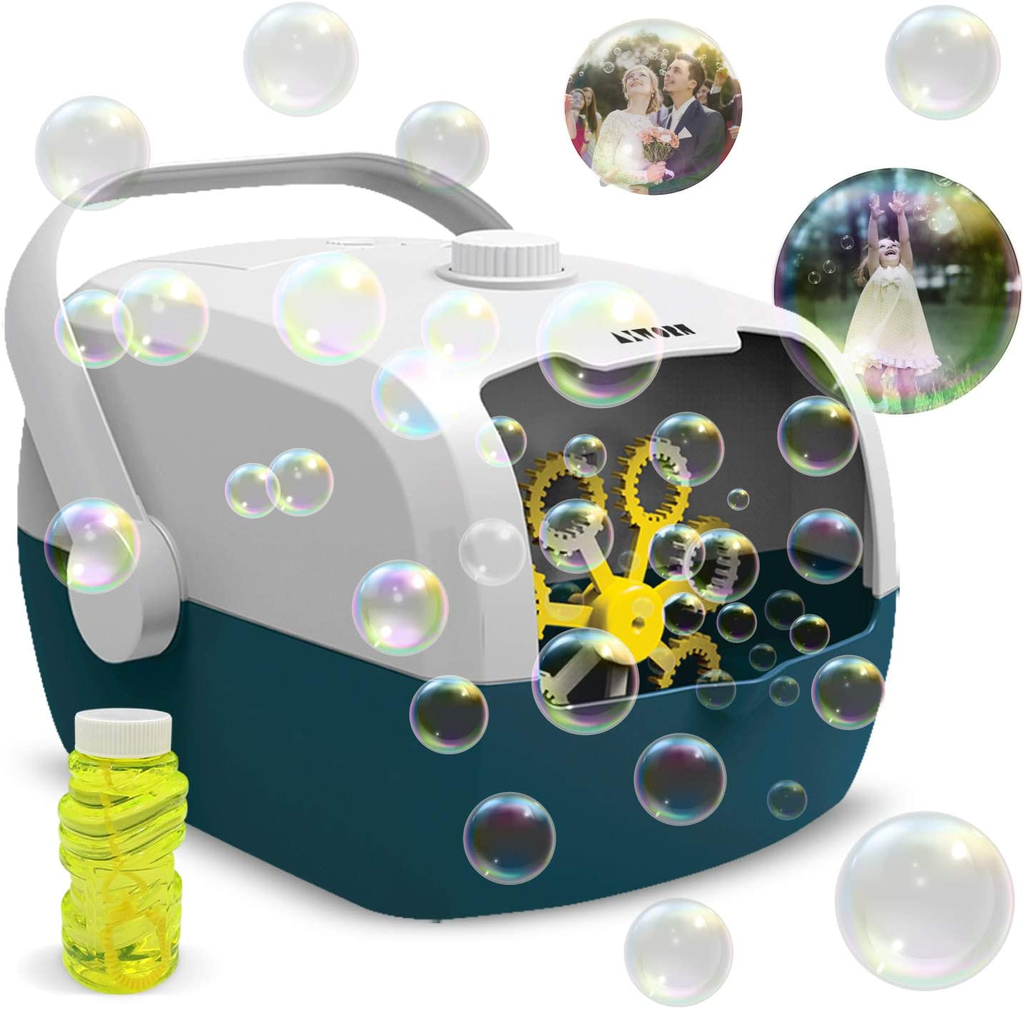 Bubble Machine for Kids, Automatic Bubble Blower - Portable Auto Bubble Maker with High Output for Outdoor Indoor Party Birthday - Bubbles for Kids & Toddlers- Includes Bubble Liquid Soap
