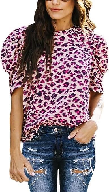 Tosonse Camiseta para Mujer Tops Estampados De Leopardo Blusa De Cuello Redondo Media Manga Algodón Depósitos De Remoción Camisas tee Túnica: Amazon.es: Ropa y accesorios