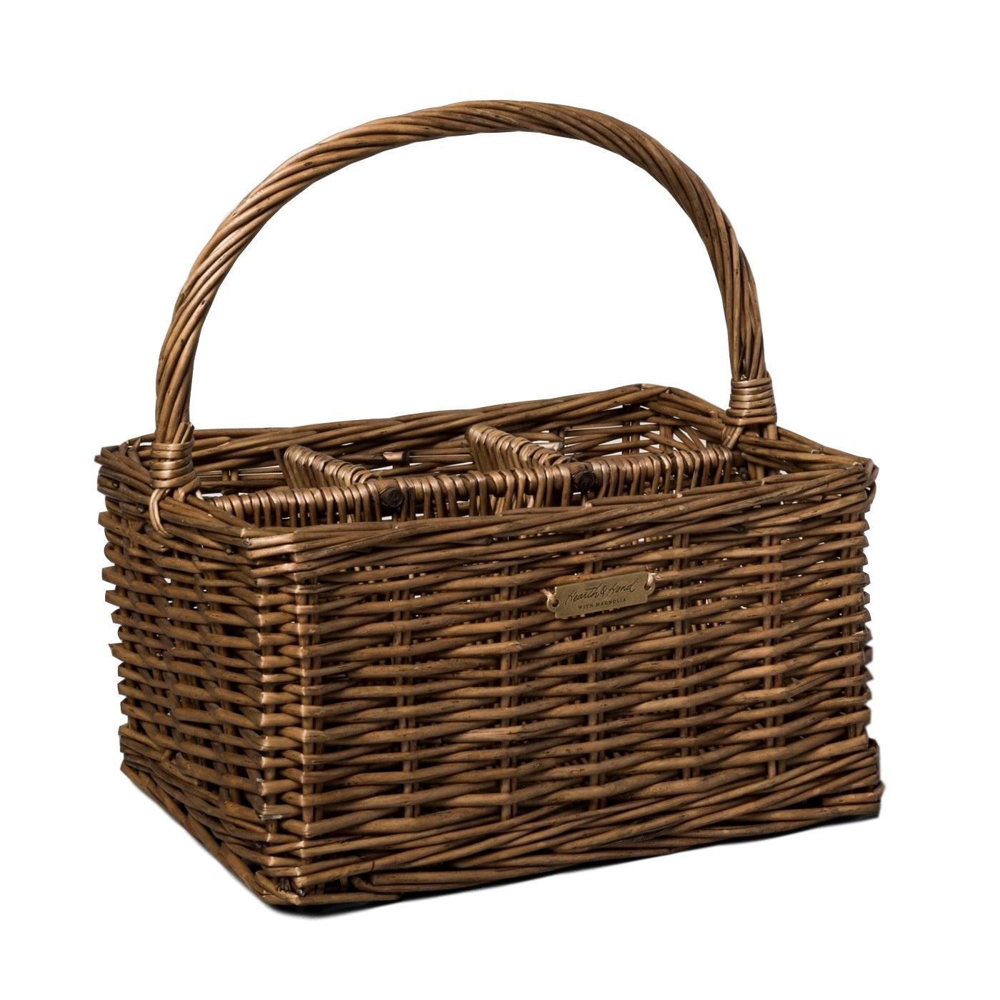 Hearth and Hand Magnolia Flatware Caddy Willow Organizer Parties Picnic Utensil Holder