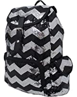 2 Tone Sequin Drawstring Cheer Yoga Dance Girly School Backpack Bookbag (Black)