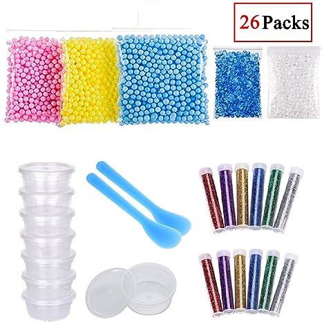19 pcs Slime Kit para hacer suministros contiene pecera abalorios, Contenedores de almacenamiento de pelotas de ...