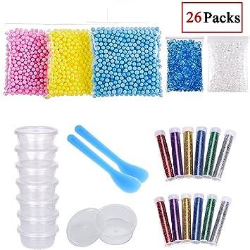 19 pcs Slime Kit para hacer suministros contiene pecera abalorios, Contenedores de almacenamiento de pelotas