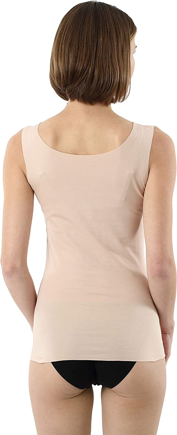 Albert Kreuz Womens Laser Cut Invisible Seamless Tank top Undershirt with deep Scoop Neck Stretch Cotton Nude