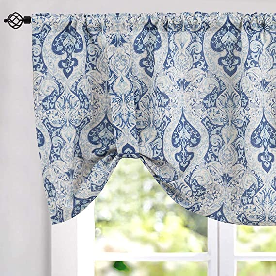 Jinchan Tie Up Valance For Kitchen Living Room Linen Blend Damask Printed Adjustable Tie Up Window Curtain Drapes Rod Pocket 20 Inch Long 1 Panel Blue Kitchen Dining Amazon Com