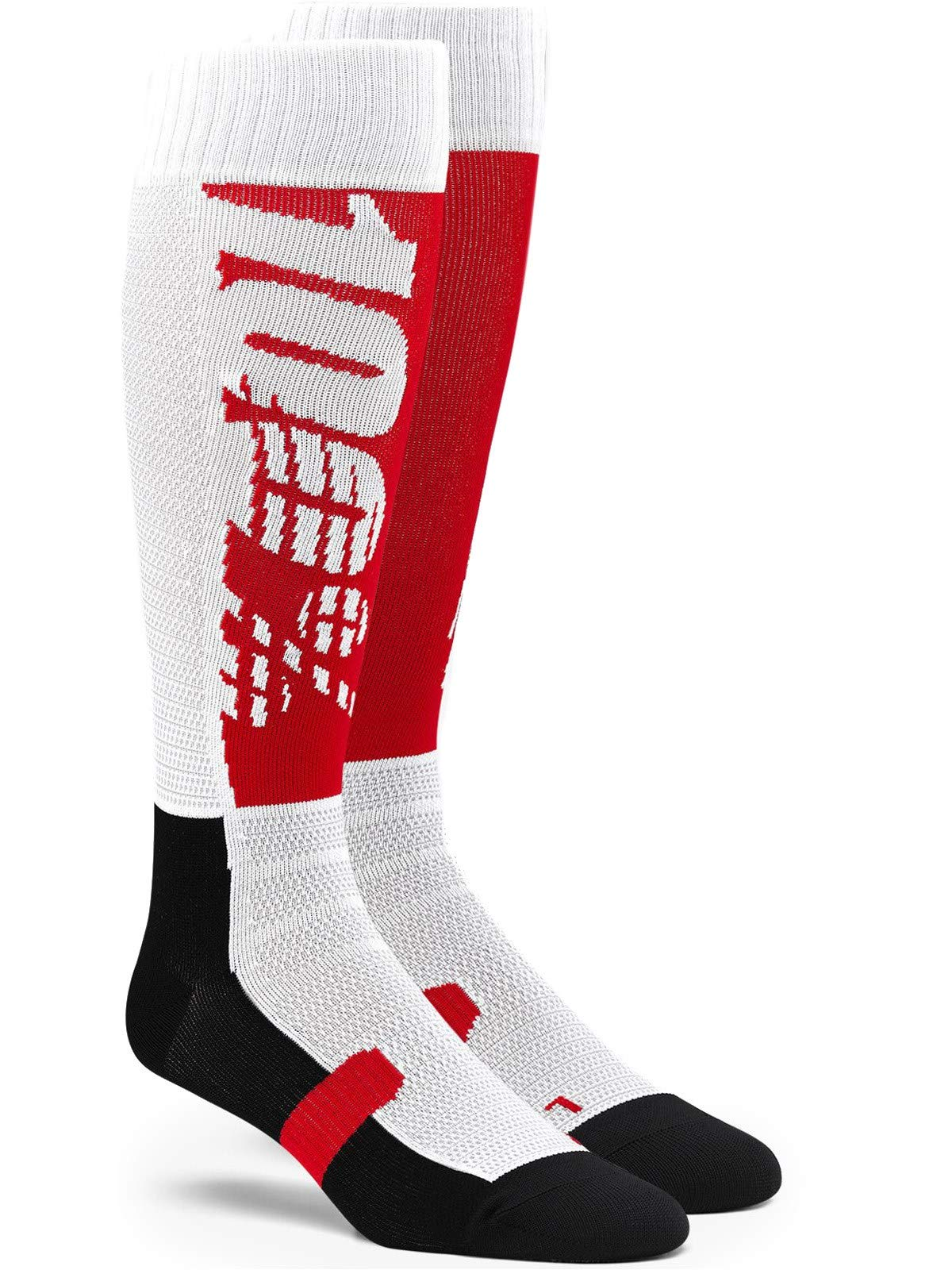 100% Hi Side Performance Moto Socks-Red/Black-L/XL