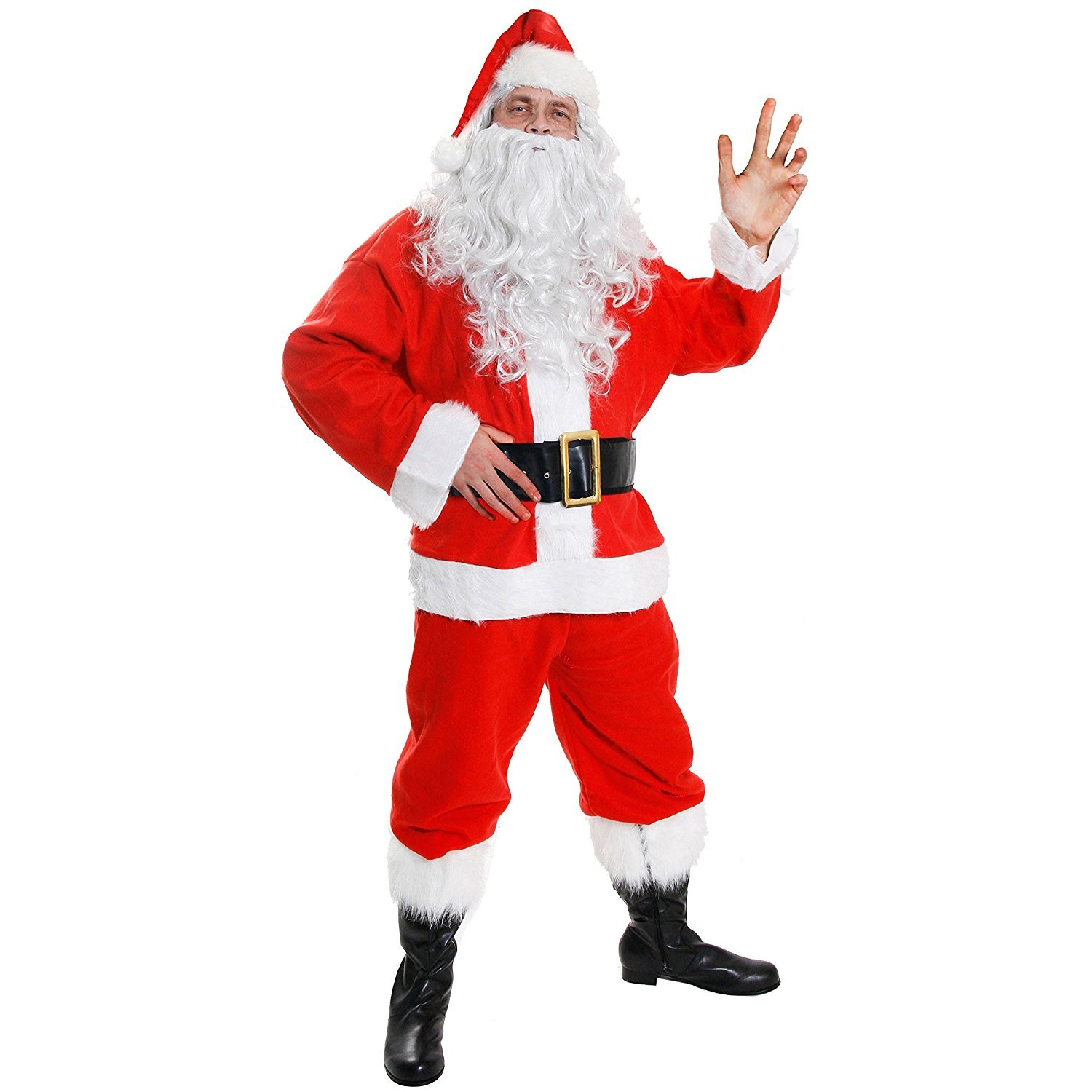 0a453ab8c97 7 PIECE DELUXE SANTA CLAUS FANCY DRESS COSTUME - RED VELOUR SANTA JACKET  WITH FAUX FUR TRIMMING