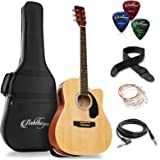 Ashthorpe Full-Size Dreadnought Cutaway Acoustic-Electric Guitar Bundle - Premium Tonewoods - Natural