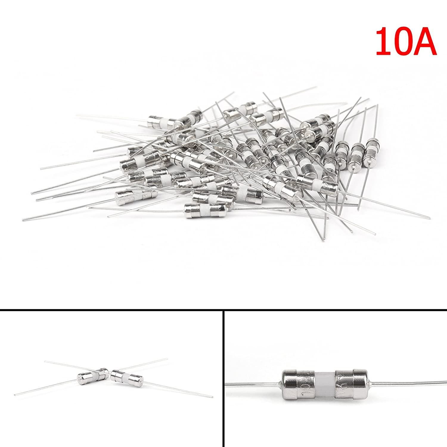 Areyourshop 40Pcs Ceramic Tube Fuse Metal Axial Lead Slow Blow Type Fuse 3.6x10mm 250V/10A E301-A081-10A-40P