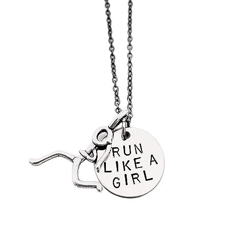 Run 925 Sterling Silver 10K Running Jewelry 5K Runner Pendant Marathon Run Like a Girl Necklace Runner Necklace Half marathon