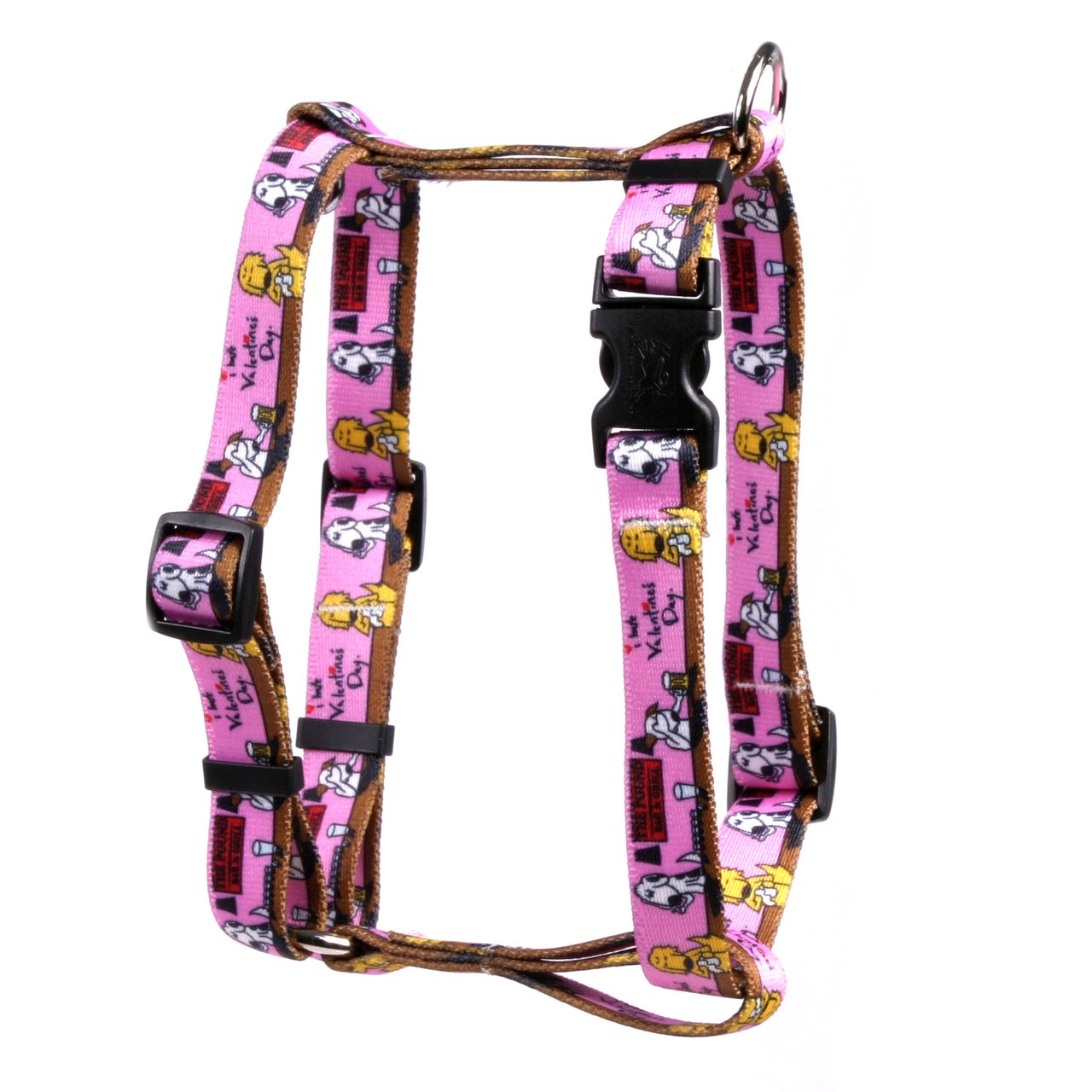 Extra Large 28\ Yellow Dog Design I Hate Valentines Day Roman Style H  Dog Harness, X-Large 1  Wide