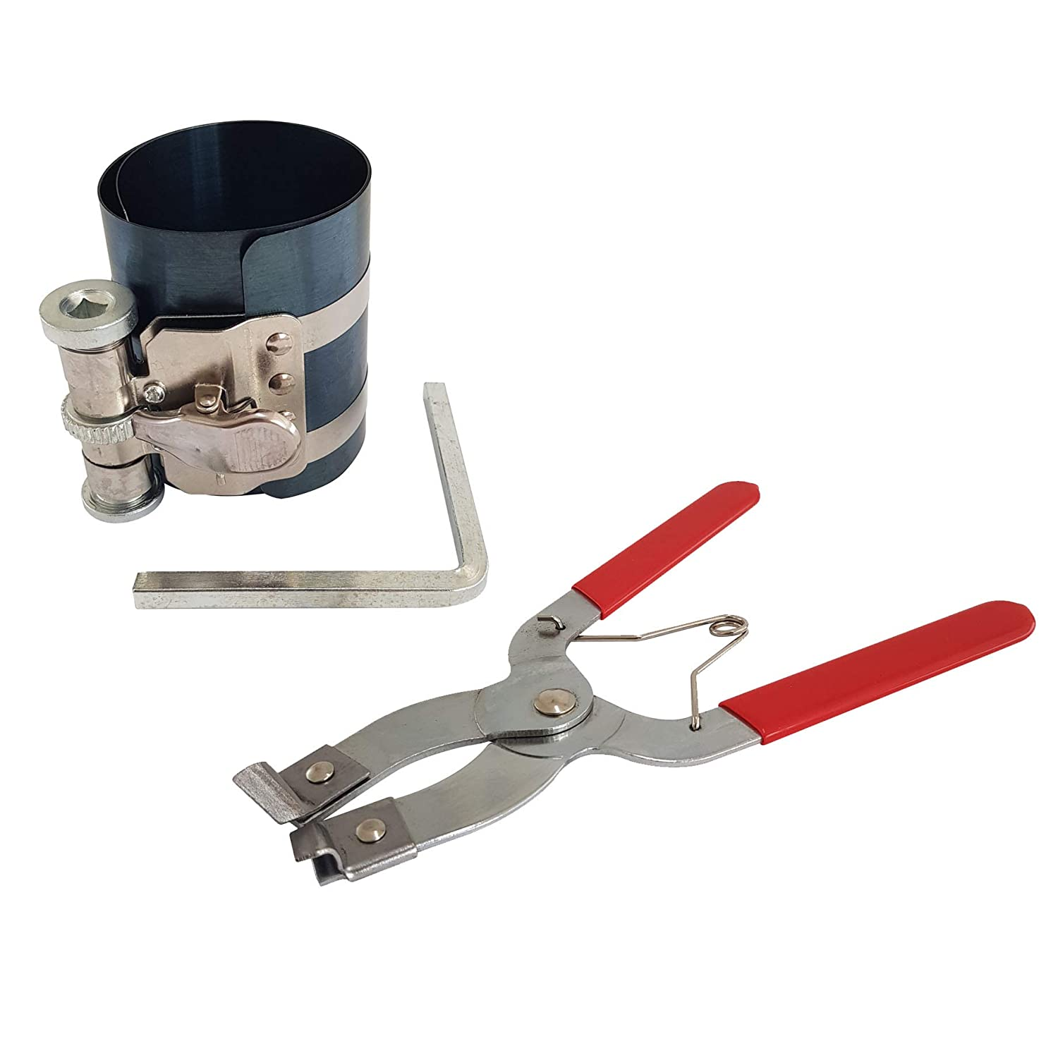 Voche/® Piston Ring Compressor Stainless Steel Clamp /& Piston Ring Plier Set 50-125mm Stainless Steel Compressor Clamp