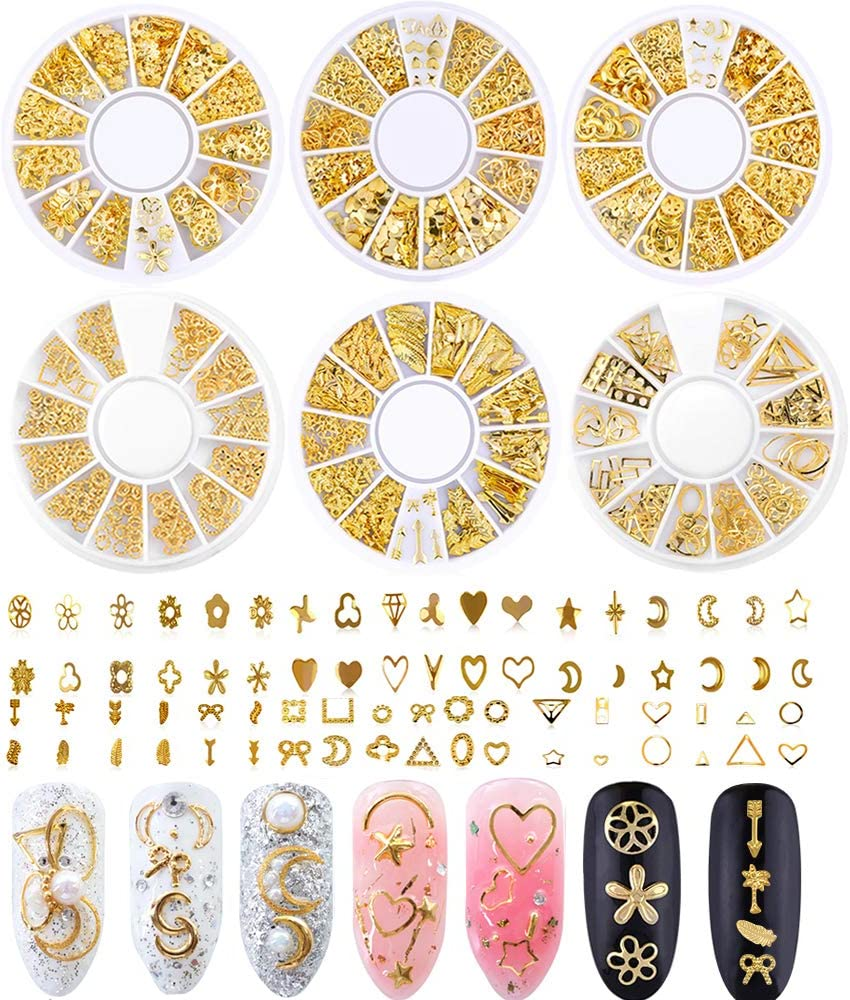 Nail Studs for Women 3D Nail Art Charms Accessories 6 Boxes Gold Metal Punk Star Moon Heart Triangle Square Rivet Gems Nail Art Jewels Decal for Girls Fingernails & Toenails Decorations Tips Manicure
