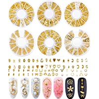Nail Studs for Women 3D Nail Art Charms Accessories 6 Boxes Gold Metal Punk Star Moon Heart Triangle Square Rivet Gems…