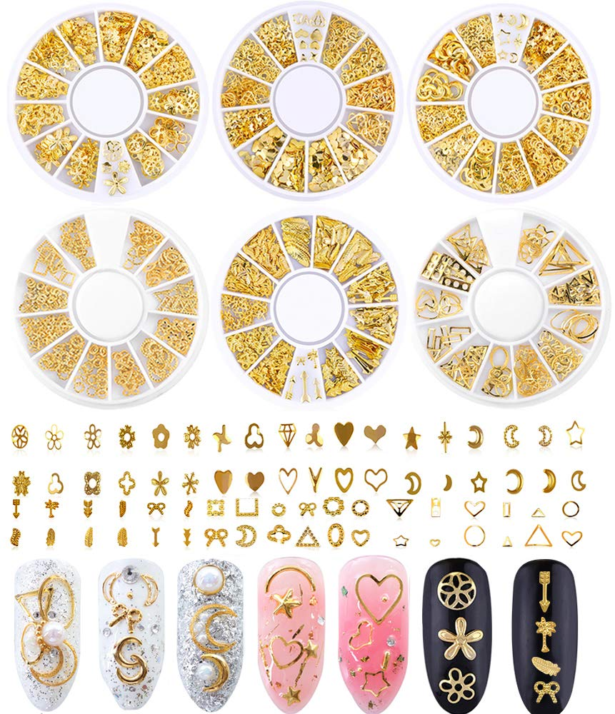 Nail Studs for Women 3D Nail Art Charms Accessories 6 Boxes Gold Metal Punk Star Moon Heart Triangle Square Rivet Gems Nail Art Jewels Decal for Girls Fingernails & Toenails Decorations Tips Manicure by TOOBIT