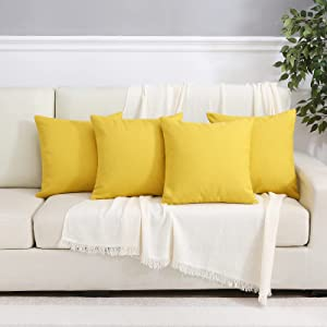 Outdoor Pillow Covers Patio Furniture Waterproof Decorative Square Outside Garden Cushion Throw Pillowcase Shell for Patio Tent Couch Pack of 4 18x18 Inch Lemon Yellow