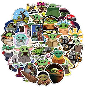 Qucuek Baby Yoda Stickers (50 Pieces), Includes The Mandalorian Sticker with Yoda Baby, Lots of Choices for Hydro Flask Laptop Mug Water Phone