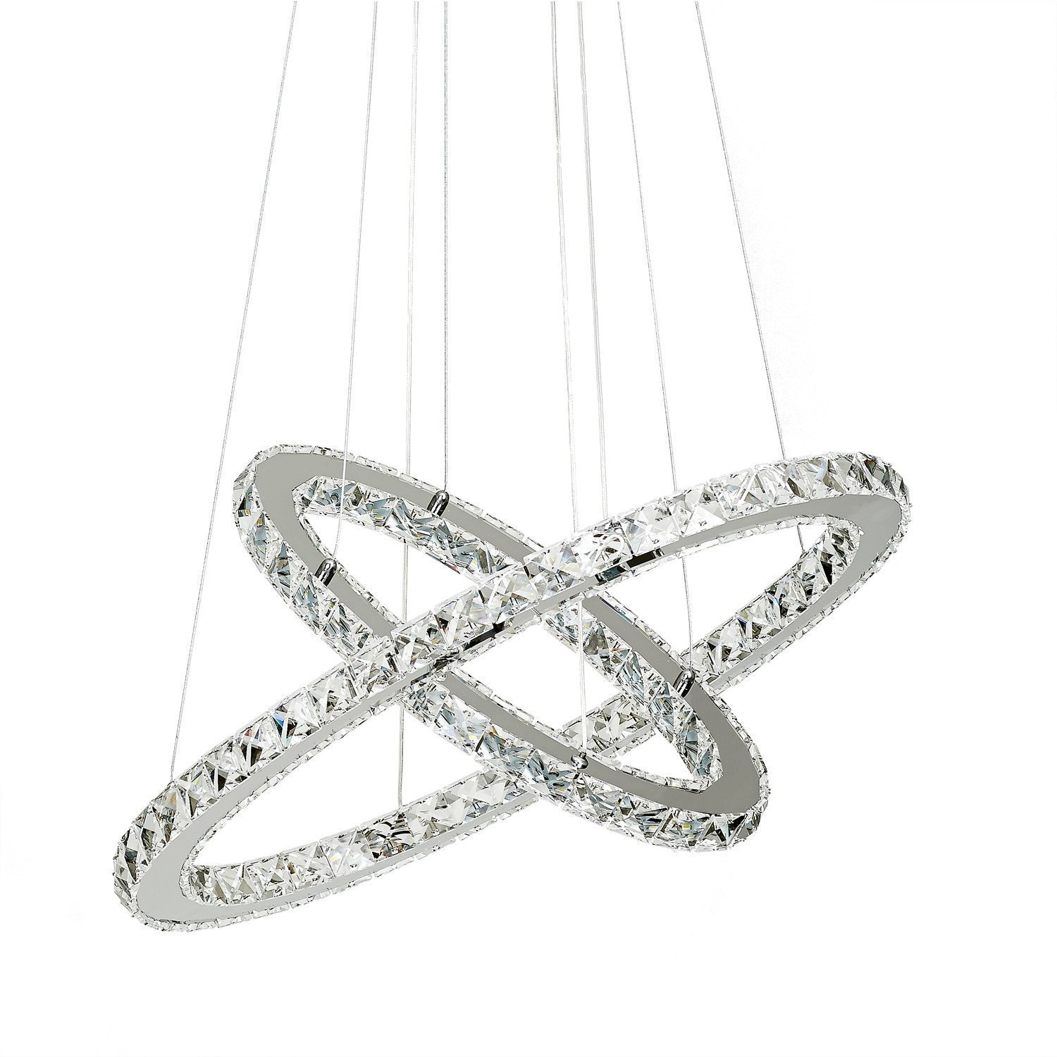 Crystal Chandelier,TOPMAX Design 60cm Cut Crystal LED Pendant With Oval Two Rings,Ceiling Light Fixture by TOPMAX