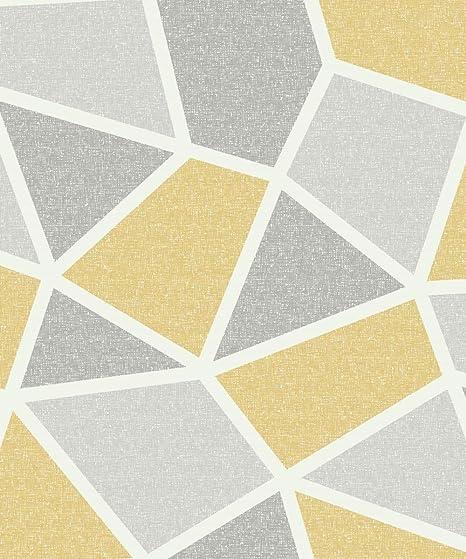 Crown Arendal Geometric Mustard Wallpaper M1475 Textured Metallic