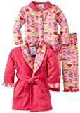 Baby Bunz Baby Girls' LG Cu Pieceake Robe and Pajama Set, Hot Pink, 18 Months