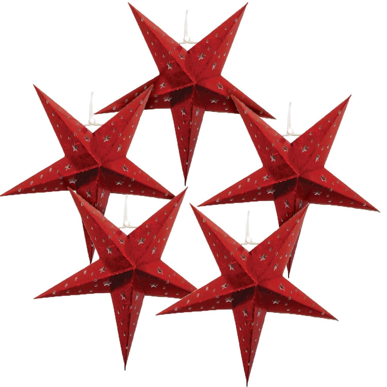 Justアーティファクト – Star Shaped Paper Lantern /ランプHanging Decoration – 18インチ、レッド – Vary Set of 5 Set of 5  B01LVZ4167