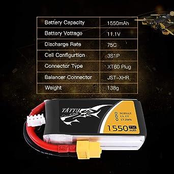 Tattu 3S 11.1V 1550mAh 75C LiPo Battery Pack with XT60 Plug for RC Boat Heli Airplane UAV Drone FPV