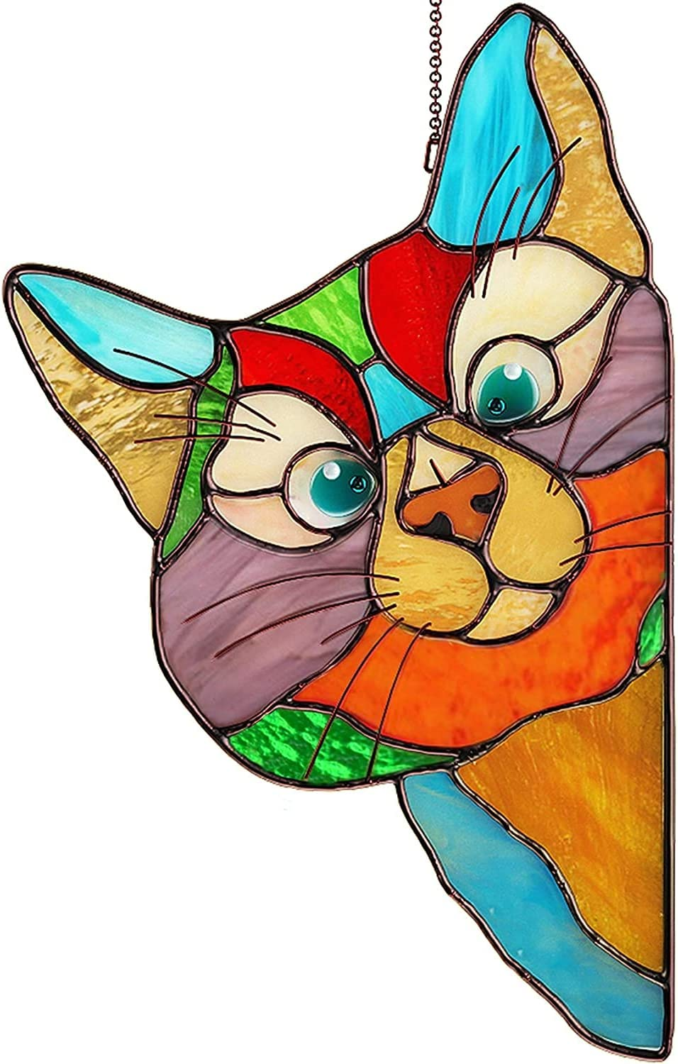 YALANK Peeking Cat Stained Glass Window Hangings-8.7 inches Length and 5.5 inches Wide-Window Funny Cat Decor