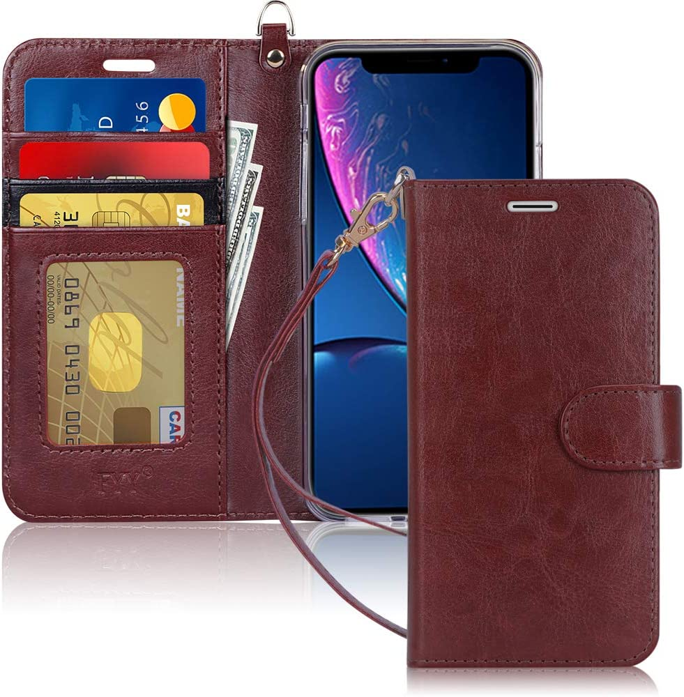 "FYY Luxury PU Leather Wallet Case for iPhone Xr (6.1"") 2018, [Kickstand Feature] Flip Folio Case Cover with [Card Slots] and [Note Pockets] for Apple iPhone Xr (6.1"") 2018 Brown"