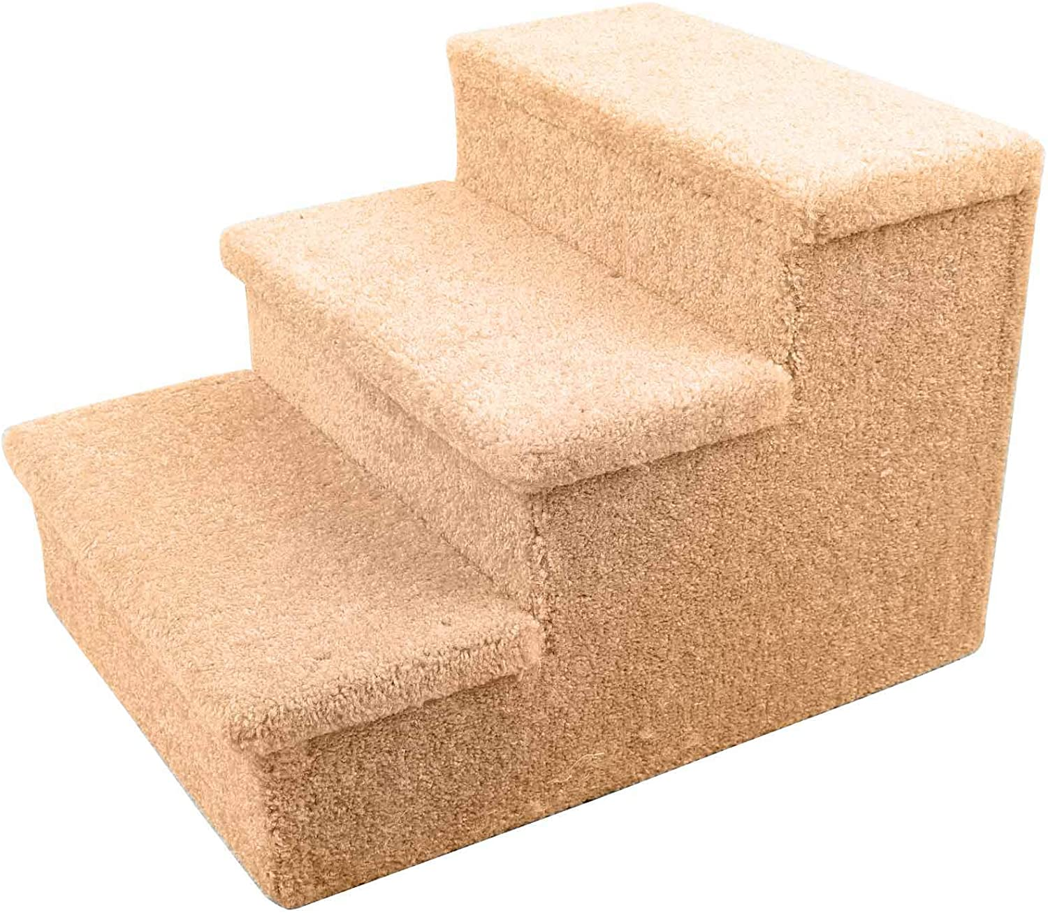 Penn-Plax 3 Step Carpeted Pet Stairs for Both Cats and Dogs Holds Up to 150 LBS 12.75 Inches High, Beige : Pet Supplies