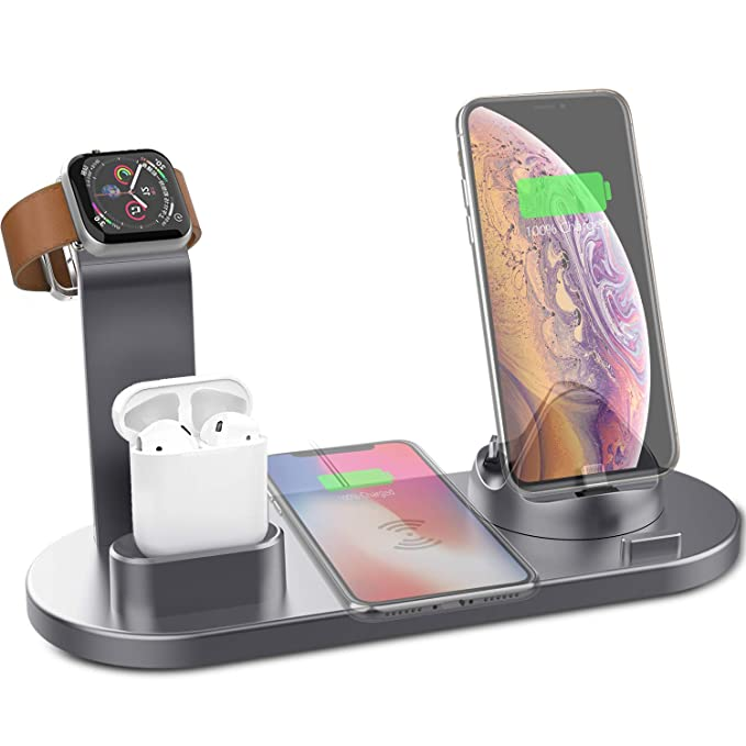 Yestan Wireless Charger 4 in 1 Wireless Charging Dock Compatible with Apple  Watch and Airpods Charging Station Qi Fast Wireless Charging Stand